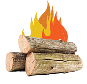 image of burning logs